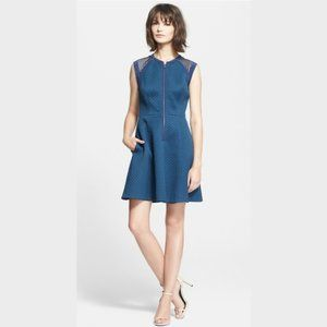 Rebecca Taylor Quilted Zip Front Blue Sleeveless